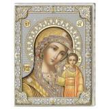 Icoana Maica Domnului de la Kazan ClassGifts pe Foita de Argint 925 cu AuriuColor 24x30cm COD: 2671