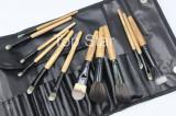 Trusa machiaj 12 pensule lemn Fraulein38 Brown + borseta depozitare
