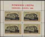 1969 Romania Exil - Bloc EUROPA dantelat, rezistenta anticomunista