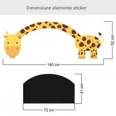 Sticker perete copii Tabla de scris Girafa cu gat lung 140x52 cm