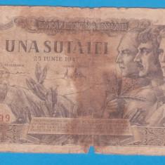 "(8) BANCNOTA ROMANIA - 100 LEI 1947 (25 IUNIE 1947), SERIE ""INTERESANTA"""