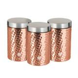 Set 3 recipiente pentru condimente, din otel inoxidabil, Ø11xH17,8 cm, Metallic Line Rose Gold