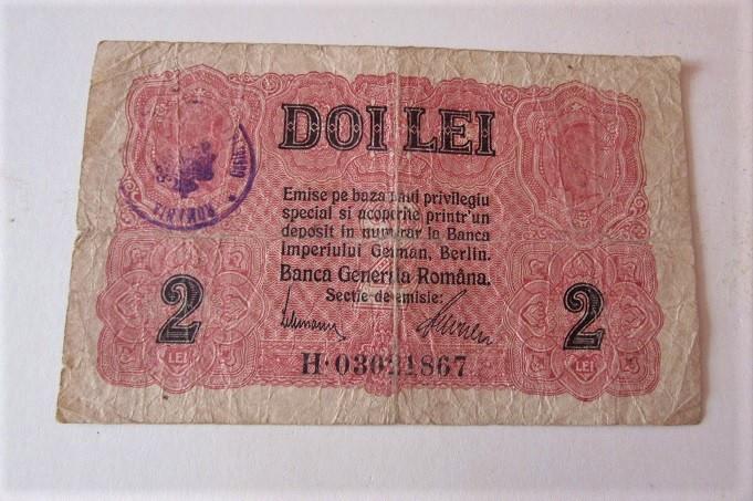 2 lei 1917 BGR cu stampila