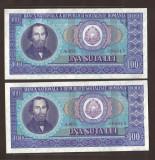 ROMANIA 100 LEI 1966 UNC SERII CONSECUTIVE