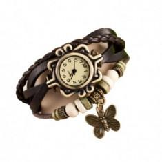 Ceas de dama Retro Vintage, curea din piele, accesoriu fluture, model negru, CS1003