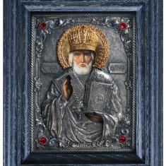 Icoane argintate, Icoana Sf. Nicolae, dim 16cm x 20cm, cod A-18