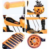 Trotineta 5 in 1 cu maner de impins si roti cu lumini Scooter OX11, portocalie