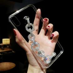 Husa silicon +bratara cu pietricele  Iphone X / XS