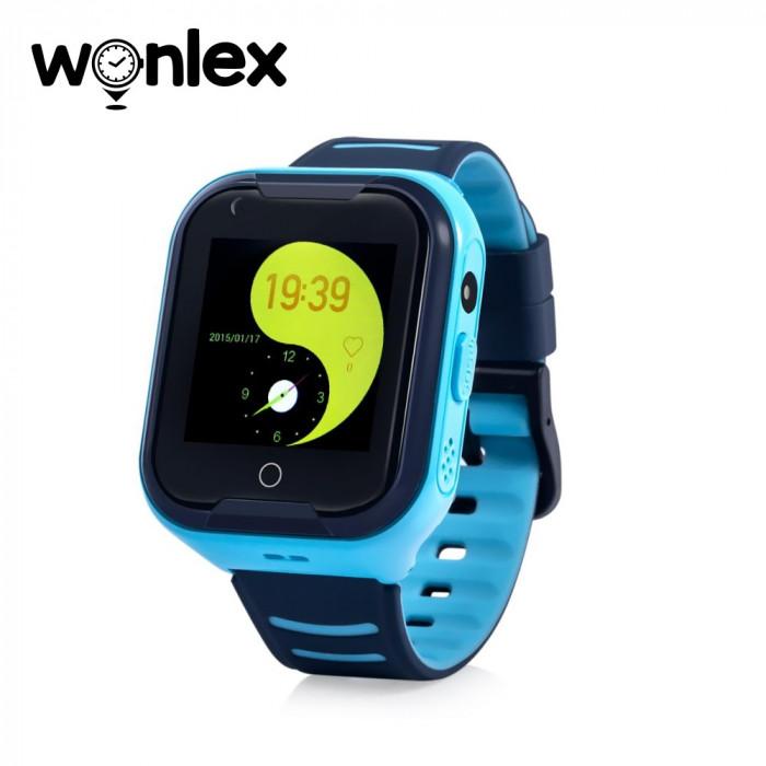 Ceas Smartwatch Pentru Copii Wonlex KT11 cu Functie Telefon, Apel video, Localizare GPS, Camera, Pedometru, Lanterna, SOS, IP67, 4G - Albastru