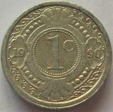 Moneda exotica 1 CENT - ANTILELE OLANDEZE (Caraibe), anul 1990 * cod 979, America Centrala si de Sud, Aluminiu