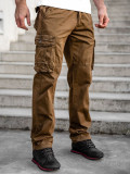 Pantaloni plus size maro cargo cu curea Bolf CT8901