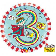 Balon aniversar 3 ani din folie Cavaler 43cm