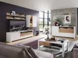 Set de mobila living din pal si MDF, 6 piese Selina Alb / Natur