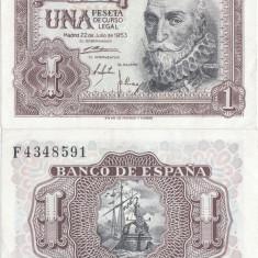 1953 (22 VII), 1 peseta (P-144a) - Spania - stare aUNC