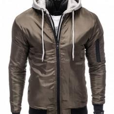 Jacheta pentru barbati din fas slim fit pieptar cu gluga detasabile khaki C197