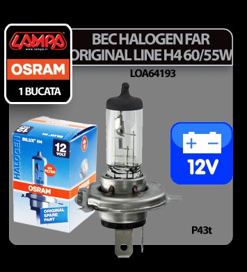 Bec Osram H4 60/55W P43t 12V Original Line 1buc - CRD-OS64193-01B Auto Lux Edition