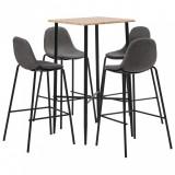 Set mobilier de bar, 5 piese, gri taupe, material textil, vidaXL