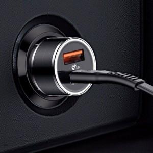 Incarcator Auto Baseus Small Screw cu functie QuickCharge 30 Iesiri USB si USBC 36W Negru