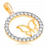 Cumpara ieftin Pandantiv realizat din aur 585 - cercuri lucioase din zirconiu,contur ingust si lucios in forma de fluture