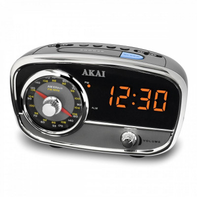 Radio cu ceas Akai CE-1401 Aux-in Silver Black foto