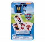 Carti de joc Jumbo, Patrula Catelusilor, cu figurina in cutie de metal, Spin Master