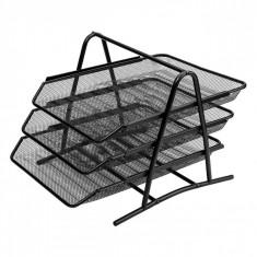 Suport documente birou, model cu 3 compartimente glisante, negru
