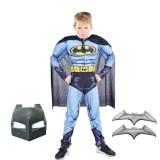 Cumpara ieftin Costum Batman cu muschi pentru copii, M, 5 - 7 ani, masca inclusa si batarang