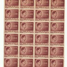 ROMANIA MNH 1945 - Uzuale Mihai I - fragment coala 480 L - 24 timbre