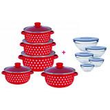 Pachet Bucătărie Set 5 Cratițe Emailate + Capace Sticlă și Set 5 Boluri de Sticlă + Capace (diverse culori), Vanora Home
