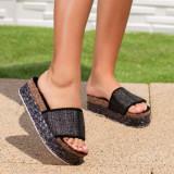 Papuci dama cu talpa inalta negri Tugarsia
