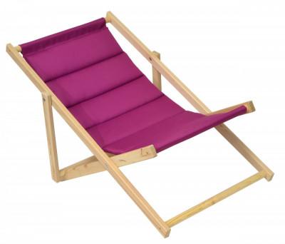 Scaun pliabil sezlong pentru plaja, gradina sau camping, cadru din lemn, culoare Mov foto