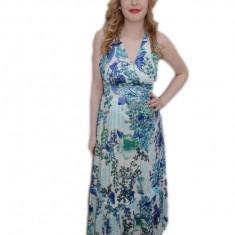 Rochie lunga de vara, alb-albastru, cu decolteu in V, fara maneci