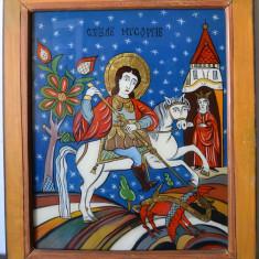Sfantul Gheorghe, pictură pe sticlă