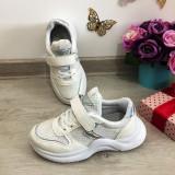 Cumpara ieftin Adidasi usori albi argintii cu scai pt copii fete 32 33