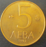 Moneda 5 LEVA - BULGARIA, anul 1992 *cod 4343 - PATINA, Europa