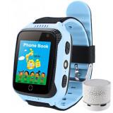Ceas GPS Copii iUni Kid530, Touchscreen, Telefon incorporat, Bluetooth, Camera 1.3MP, Lanterna, Buton SOS, Albastru + Boxa Cadou