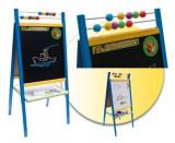 Cumpara ieftin Tabla mare 2 in 1, de scris cu marker si creta, cu suport, picioare si accesorii, pentru copii - albastra