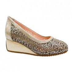 Pantof de dama in nuanta de auriu, talpa plina cu inaltime de 3 cm