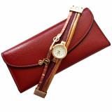 Cumpara ieftin Pachet portofel elegant de dama cu suport detasabil, visiniu + ceas visiniu cu inchizatoare tip bratara