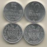 MOLDOVA LOT / SET 2 buc : 5 BANI + 10 BANI 2018 , a UNC - necirculate, Europa, Aluminiu