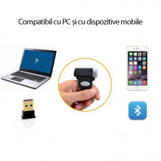 Mini cititor cod bare 2D, Bluetooth, fixare deget, Android iOS PC, 360 grade, stocare 2000 coduri