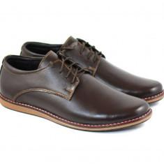 Pantofi casual - sport barbati din piele naturala maro PH338SMBOX