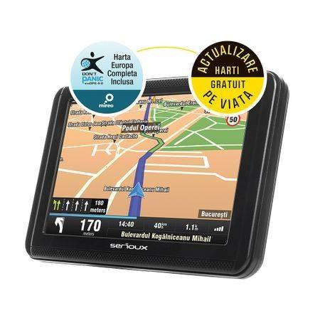 "GPS Serioux UPQ500FE 5.0"" URBANPILOT harta Europei Mireo Don't Panic + Actualizari pe viata a hartilor"