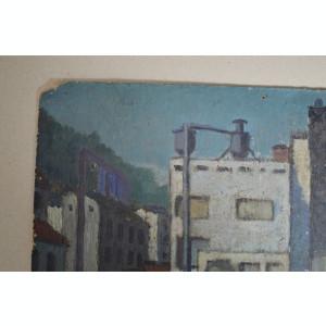 Uzina veche pictura ulei pe mucava
