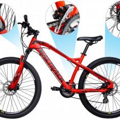 Bicicleta MTB MalTrack Hydraulic Red cu 24 Viteze, Roti 26 Inch, Mountain Bike