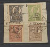 1920 ROMANIA emisiunea Ziaristi 4 timbre diferite stampilate pe fragment de plic