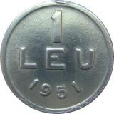 Romania, 1 leu 1951 * cod 39, Aluminiu