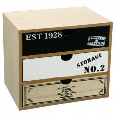 Cutie pentru depozitare din lemn, model cu 3 sertare, 20x15x18 cm