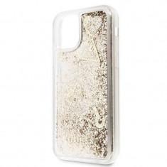 Husa de protectie, Guess Hearts, iPhone 11 Pro, Transparent/Auriu