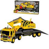 Jucarie masina camion trailer cu excavator